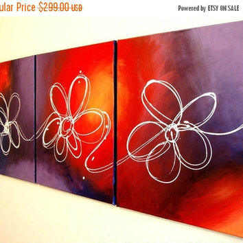 """extra large wall hanging art triptych """"floral delight"""" acrylic abstract modern painting flower 3 three panel paintings on canvas 54 x 24"""