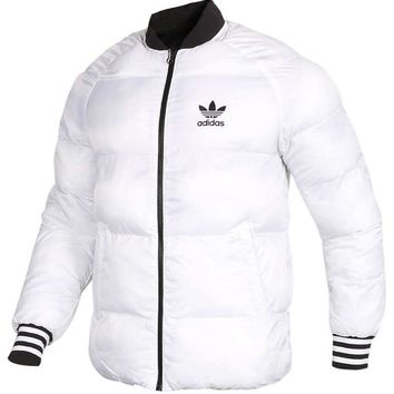 Adidas Winter Loose Women Men Fashion Couple Coat Long Sleeve Cardigan Bread Down Coat Cotton-padded Clothes Jacket Windbreaker(Two Side Wear Reversible) White