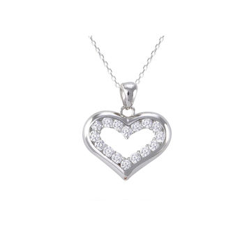 Sterling Silver Open Heart Pendant Necklace White Pave CZ Cubic Zirconia Stones
