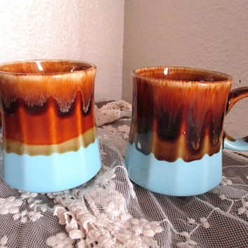 Vintage Pair Mid Century Ceramic Pottery Mugs Drip Glaze Brown Light Blue Coffee Cups Set of 2