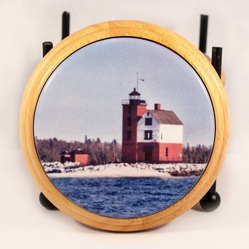 Coaster, Glossy Ceramic Tile in Wood Base, Round Island Lighthouse Design, Photograph