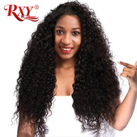 RXY Lace Front Human Hair Wigs for Women Kinky Curly Lace front wig With Baby Hair Black 150% Brazilian Wigs Pre Plucked Nonremy