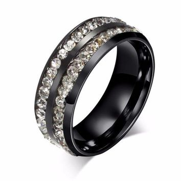 ac VLXC Retro unisex black ring double Cubic Zirconia rings anti-allergy Titanium steel fashion jewelry anel anillos bague Size 6-13