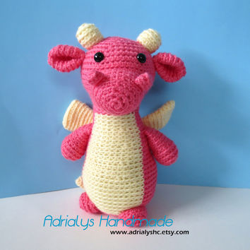 Crochet Pink Dragon- Stuffed Dragon- DragonPlush- Fantasy Animals- Amigurumi Dragon - Handmade Dragon- Crochet Toy- Made to Order