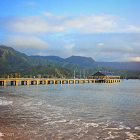Hawaii Beach Photography - Kauai Fine Art Print - Tropical Nature Landscape - Hanalei Bay Pier - Scenic Island View - Bright Blue Ocean Sand