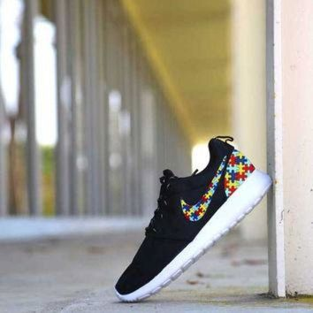 Custom Autism Puzzle Print Nike Roshe Run Shoes Fabric Design Hand Made Personalized 2