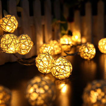 HOT 20 LED Lights Rattan Balls Battery Christmas String Lights for Home Garland Decoration Wedding Patio Bedroom Fairy Lights
