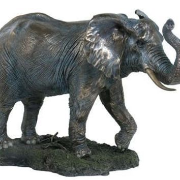 Elephant Male Bull with Trunk Up Walking Large Statue 19.25L