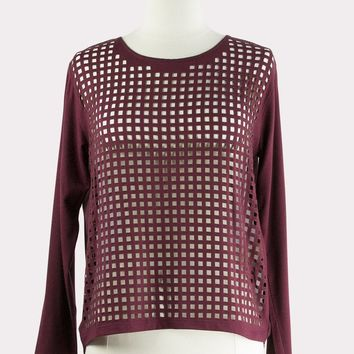 Burgundy Laser Cut Top