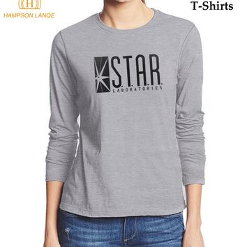 HAMPSON LANQE 2017 New The Flash STAR Labs Lady T Shirt Autumn Slim Fit T-Shirt 100% Cotton Casual Women Long Sleeve T-Shirts