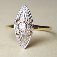 Marquise Art Deco Diamond Ring, Art Deco Diamond 14k Gold Engagement Ring, Approx Size US 8.25