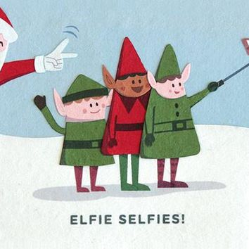 Elfie Selfies Christmas Greeting Card