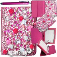 "Jersey Bling® BLING Universal Kindle Fire 7"" HD 1st & 2ND GEN, HDX, NON-HD, Crystal and Rhinestone Faux Leather Case with Built-In Stand, FREE Stylus (3D HOT PINK Rose)"