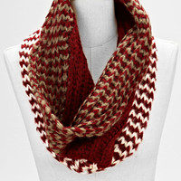 Ombre Two Toned infinity Knitted Fashion Scarf Burgundy Gold