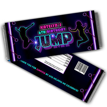 Girls Jump Candy Wrapper Party Favors - Girl Bounce Birthday Party Favor - Personalized Candy Wrappers - Purple - Trampoline - Bouncy - JUMP
