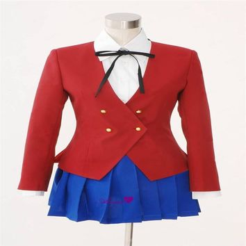 Japanese Anime TIGER DRAGON Toradora Aisaka Taiga Cosplay Costume School Girls Uniform Include Blazer+Blouse+Skirt+Tie   CS20284