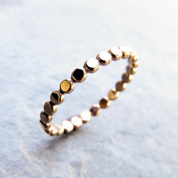 Gold Fill Gold Dots Stacking Ring, GF Beaded Band of Tiny Circles, Gold Dotted Eternity Band, 2mm Flat Geometric Bubble Ring, Matte / Polish