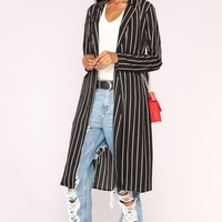 Straight Forward Duster Jacket - Black/White