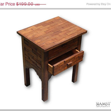 On Sale Rustic Asian bedside table with two drawers