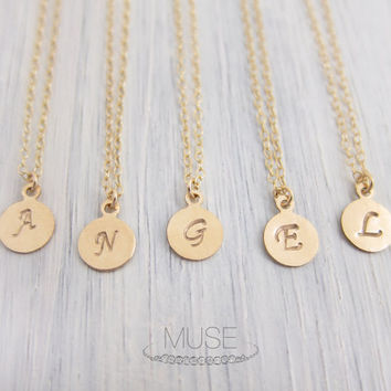 Tiny Initial Disc Necklace - Personalized Gold Filled Disc, Custom Initial Charm Necklace, Monogram Necklace, Bridesmaid Gift