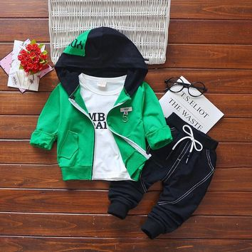 Newborn baby spring clothing set infant boys 3pcs casual kids sport suits boys cotton tracksuits costume baby boys autumn sets