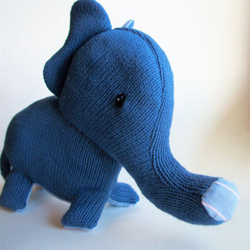 Elephant Stuffed Animal Blue- Lawrence