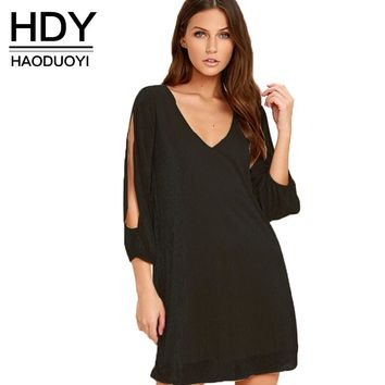 Women Casual Hollow Out Loose V-neck Women Clothing Off-shoulder Summer Dress