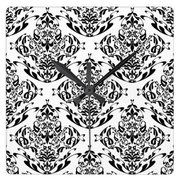 Classy Black And White Floral Damask Boho Pattern Square Wallclock
