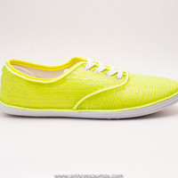 CVO Neon Green Sequin Canvas Sneakers Shoes