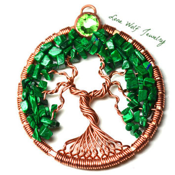 Tree of Life Pendant Copper Malachite Bezel Set Swarovski Crystal Twisted Wire Wrapped Metaphysical Tree Necklace Yggdrasil Celtic Tree