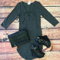 Fun in the Sun 3/4 Tie Dress: Charcoal