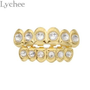 Lychee Hip Hop Gold Silver Color Rhinestone Crystal Grillz Dental Grills Top Bottom Tooth Caps Body Jewelry For Men Women
