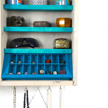 Wall Mounted Jewelry Storage made from repurposed wood