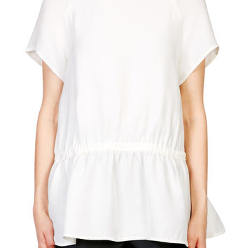 Cady Top With Gathered Waist - WHITE | CARVEN | Green with Envy