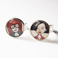 Daria Morgendorffer and Jane Lane - Set of 2 Handmade Vintage Cameo Rings - Best Friends Jewelry
