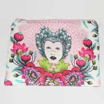 Zipper Pouch for Coins, Knitting Notions, Toiletries, Cosmetics, Handmade with Tula Pink Elizabeth Selfie and Chain Mail Lining pink, red