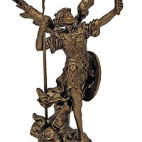 A Veronese Archangel Uriel statue in lightly hand-painted cold cast bronze, 4inches