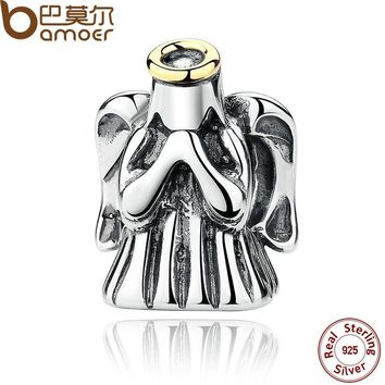 925 Sterling Silver Fashion Romantic Divine Guardian Angel Protective Charms Fit Bracelets Accessories PAS276