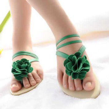 Wholesale Korea sweet gentlewoman big flower flat slippers Z-ND201 green - Lovely Fashion
