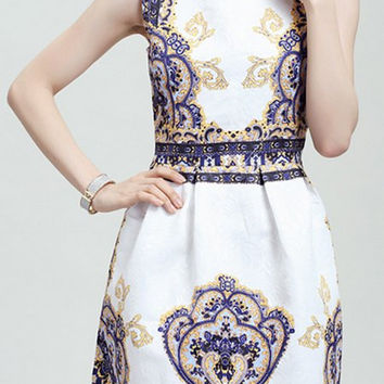 Blue Printed Sleeveless Skater Dress