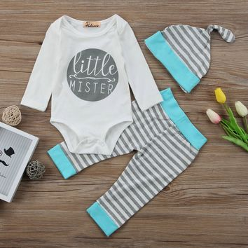 Little Mister baby boy Onsie + Pants + Hat 3pc Outfit