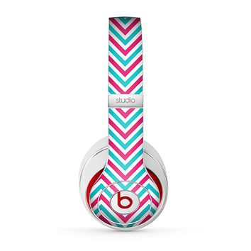 The Blue & Pink Sharp Chevron Pattern Skin for the Beats by Dre Studio (2013+ Version) Headphones