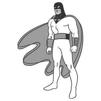 Space Ghost poster Metal Sign Wall Art 8in x 12in Black and White