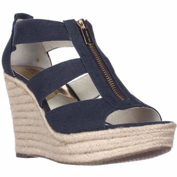 MICHAEL Michael Kors Damita Wedge Espadrille Sandals, Navy, 11 US