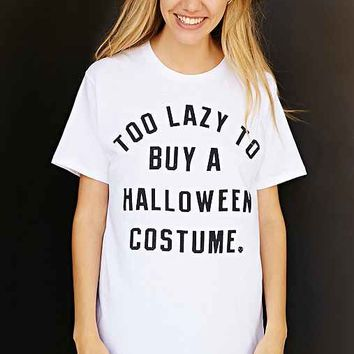 too lazy to buy a halloween costume tee white