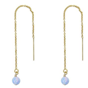 Serene Blue Opal Drop Threader Earrings