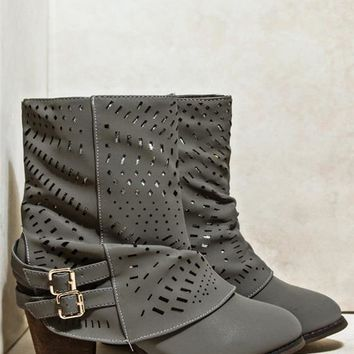 Glitter Perforated Boots