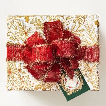 Gold Flowers and Red Berries Wrapping Paper
