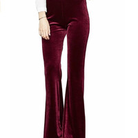 Women's Fashion Velvet Bell Bottom High Waist Wide Leg Pants Black Blue Burgundy 2016