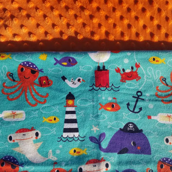 Personalized Newborn Blanket, Sea Blanket, Minky Blanket, Newborn Bedding, Toddler Blanket